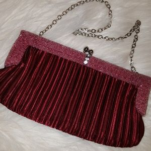 Handbags - NWOT  BURGUNDY SEED BEAD TRIM EVENING BAG